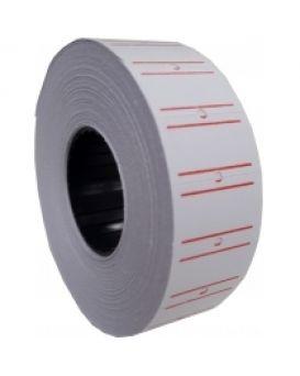 E21301-15 Этикетки-ценники,21*12мм,белые с красной полоской 1000шт/уп.