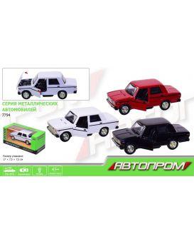 Автомобиль металлический АВТОПРОМ «ВАЗ 2107» на бат., свет, звук, двери отк., в кор.17х7,5х7,5 см