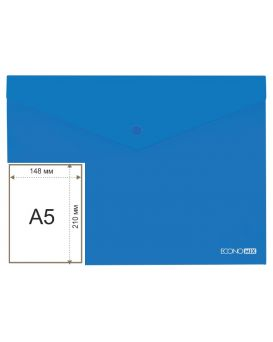 Папка-конверт А5 прозрачная на кнопке Economix, 180 мкм, фактура