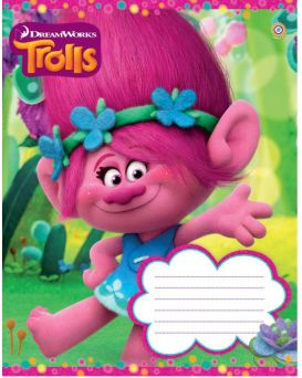 Тетрадь 12 л., А5, в косую линейку, ЗУ «Trolls color -17»