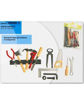 Набор инструментов 14 предметов, ключи, отвертки, молоток, в пакете 17х3х24 см