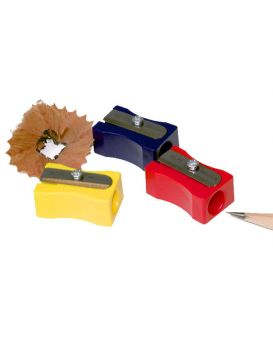 Точилка без контейнера, пластиковая, прямоугольная, в ассортименте «Металлик» ТМ KUM