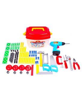Набор инструментов дрель, молоток, отвертка, пластиковые планки, уголки, гайки, ТМ Технок