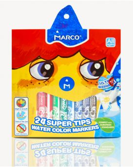 Фломастеры 24 цвета «Super Washable» Marco