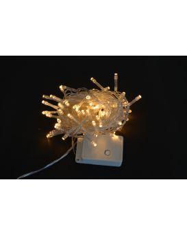 Электрогирлянда светодиодная, 100 ламп, молочно - белая, 5 м, 8 режимов мигания, прозрачный провод.