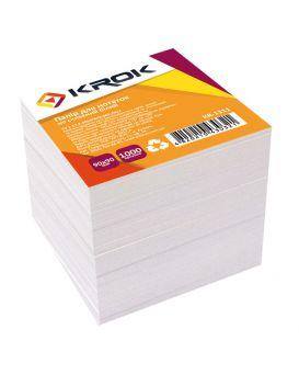 Блок бумаги для заметок 90 х 90 мм,1000 л. «Белый» Krok