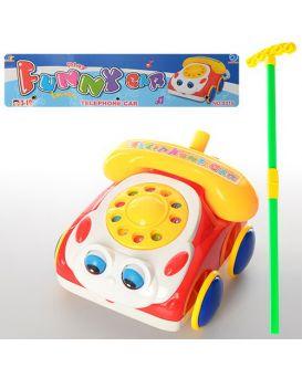 Каталочка «Машина - телефон» на палке, в пакете 29х31х10 см