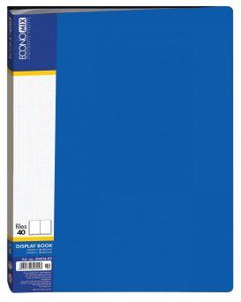 Папка пластиковая А4 с 40 файлами Economix, цвет синий.