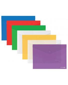 Папка - конверт А4 прозрачная на кнопке, фактура «глянец» 180 мкм, в ассортименте, Economix