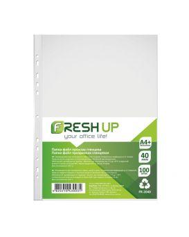 Папка-файл пластиковая, А4+, 40 мкм, с перфорацией на 11 отверстий, глянцевая фактура, 100 шт/уп