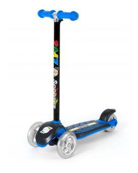 Самокат 3-х колесный, синий, рулевая колонка большая, светящиеся колеса, ТМ Орион