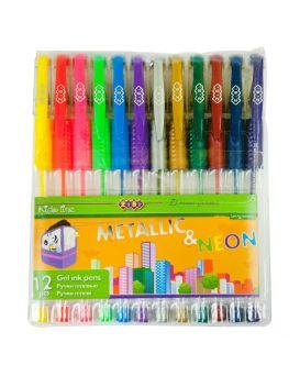 Набор гелевых ручек 12 цветов «Neon + Metallic» ТМ Zibi