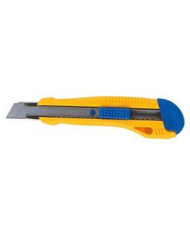 Нож универсальный 18 мм, пластиковый корпус, металлическая направляющая.