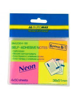 Блок бумаги для заметок 38 х 51 мм, 50 л., неон, в ассортименте, 4 шт. в блистере
