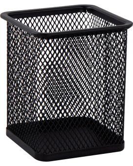 Подставка для ручек квадратная 80 х 80 х 95 мм, металлическая, черная.