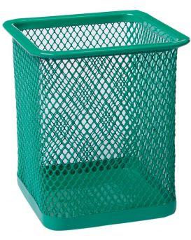 Подставка для ручек квадратная 80 х 80 х 95 мм, металлическая, зеленая.
