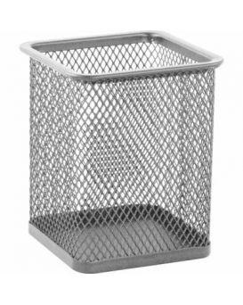 Подставка для ручек квадратная 80 х 80 х 95 мм, металлическая, серебряная.