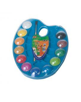 Акварельные краски на палитре, 12 цветов, натуральная кисть, синий, KIDS Line