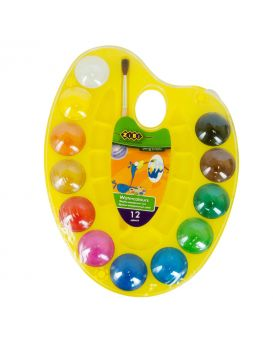 Акварельные краски на палитре, 12 цветов, натуральная кисть, желтая, KIDS Line
