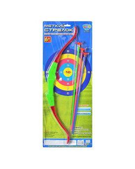 Арбалет 58 см, стрелы на присосках 3 шт., 42 см, на планшетке 64х26 см