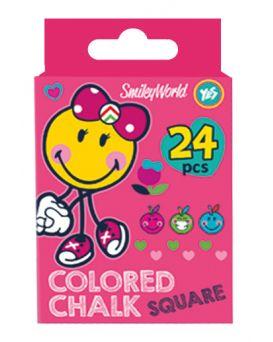 Мел квадратный, цветной, 24 шт. «Smiley World»
