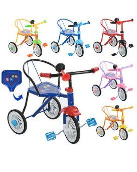 Велосипед М 5335 3 колеса,в ассортименте :красн,синий,голубой,желтый,оранжевый,черный,клаксон, 51-5