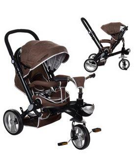 Велосипед 3-х колесный 12дюйм.«EVA» резиновые цв.,поворотное сиденье на360,регулируемый руль,шоколад