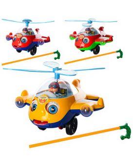 Каталка на палке, вертолет, звук, винт вращается, двигает глазами, в ассортименте в пакете, 23-20,5