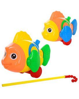 Каталочка «Рыбка» на палки 40 см, на батарейке, звук, двигает плавниками, в пакете 24х17х10 см