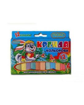 Мел квадратный, цветной 12 цветов, 70 х 15 х 10 мм с європодвесом карт.упаковка «Люкс Колор»