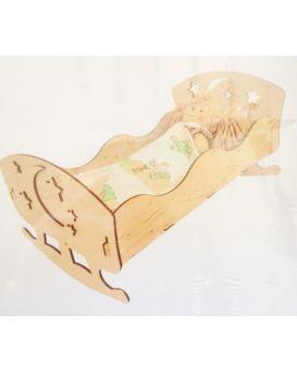 Игрушечная кровать для кукол 43*23(фанера)