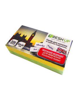 Блок бумаги для заметок клееный 80 х 40 х 200 л. «Цветной люкс» Fresh