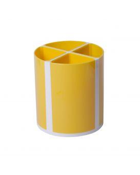Подставка для ручек «Твистер» на 4 отделения, желтая.