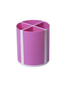 Подставка для ручек «Твистер» на 4 отделения, розовая.