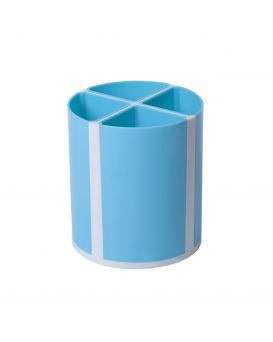 Подставка для ручек «Твистер» на 4 отделения, голубая.