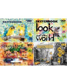 /Скетчбук А4, 24 листов, клееный, белый блок 100 г/м2, ART Line