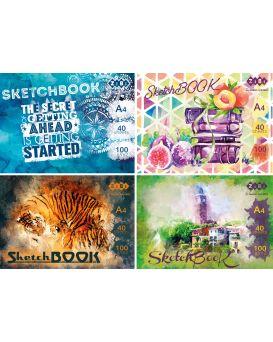 /Скетчбук А4, 40 листов, клееный, белый блок 100 г/м2, ART Line