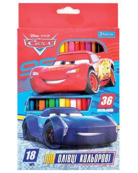 Карандаши двусторонние 18 шт. 36 цветов «Cars»