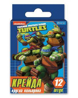 Мел круглый, цветной, 12 шт. «Ninja Turtles»