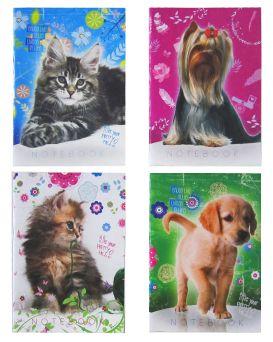 Блокнот А6 32 л., на скобе, в клетку, офсет, серия «Собаки + Кошки» ТМ Рюкзачок