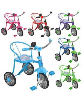 Велосипед LH-701-2 3 колеса,хром,в ассортименте :красн,желт,зел,темн-син,голуб,роз,клаксон,51-52