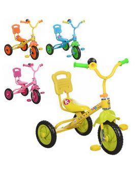 Велосипед M 1190  3 колеса, голубой, розовый, желтый (один цвет в ящике), клаксон
