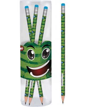 Карандаш графитный круглый с ластиком в пластиковом тубусе 39 шт. «Green face»
