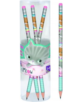 Карандаш графитный круглый с ластиком в пластиковом тубусе 39 шт. «Little meow»