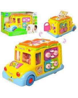 Игрушка музыкальная «Автобус» 24 см, на батарейке, ездит, музыка, свет, трещотка, в кор.28х18х15,5см