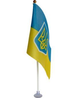 Флаг Украины 10 х 15 см. с гербом на палочке с присоской, Имп