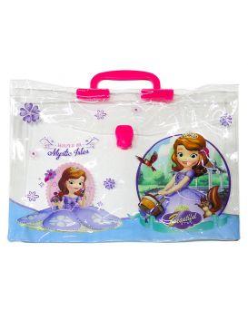 Папка - портфель пластиковый, детский, 38х28х4,5 см, пластиковая ручка «Принцесса» Имп