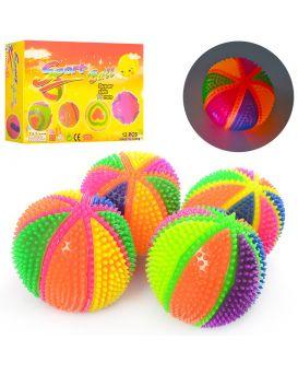 Мяч массажный пищалка, на бат., свет, звук, в ассортименте, 12 шт. в дисплей боксе 31х21,5х7,5 см