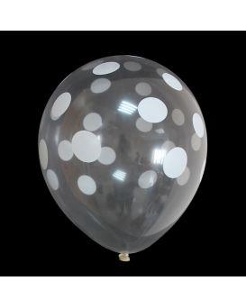 Шарики воздушные 30 см, прозрачные в белый горошек, 100 шт. в уп.