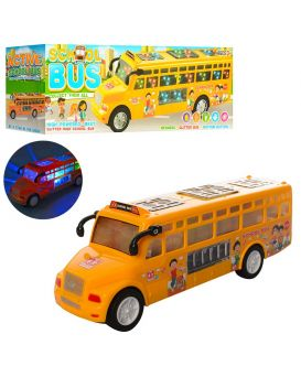 Автобус LX371 школьный, 25см, звук, свет, ездит, на бат-ке, в кор-ке, 25,5-9-7см